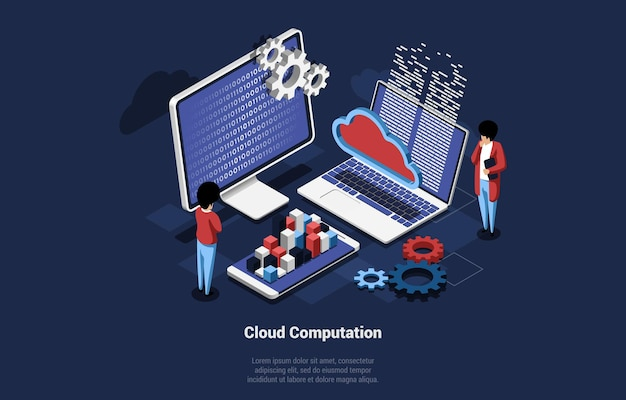 Illustration with infographic of cloud computation concept. isometric art of computer screen, laptop and smartphone sharing data, two people controlling process. mechanism, cloud, chart sign.