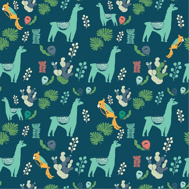 Illustration with llama and cactus plants.