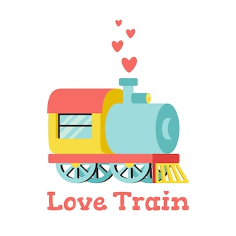 Illustration with locomotive and hearts. love train. isolated
