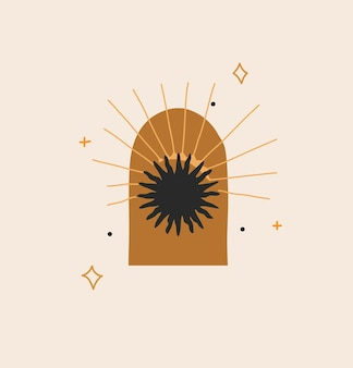 로고 요소가 있는 그림, 태양 실루엣, 별 및 태양의 보헤미안 마술 라인 아트