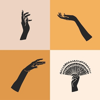 Illustration with logo elements set,human hands silhouettes, line