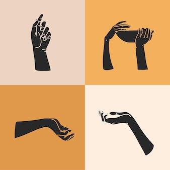 Illustration with logo elements set,human hands silhouettes,magic