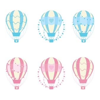 Illustration with love hot air balloon collections suitable for valentine day card