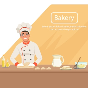Illustration with man baker character kneading dough on the table with products.