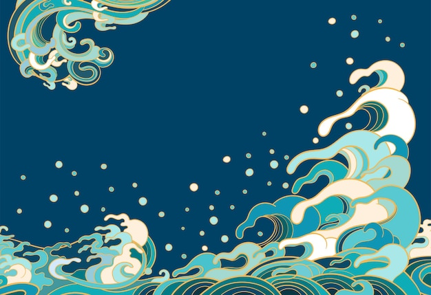Illustration with marine waves in traditional oriental style
