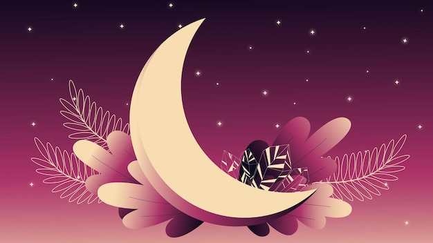 달과 수정이 있는 삽화 우주 그림 밤하늘 달빛 수정
