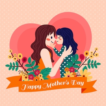 Illustration with mothers day concept
