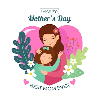 Illustration with mothers day design