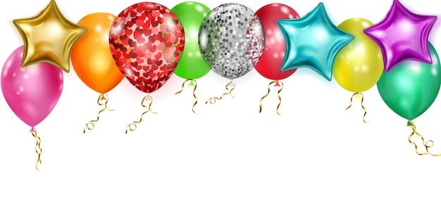 Иллюстрация с разноцветными блестящими воздушными шарами, круглыми и в форме звезд, с лентами и тенями, на белом фоне