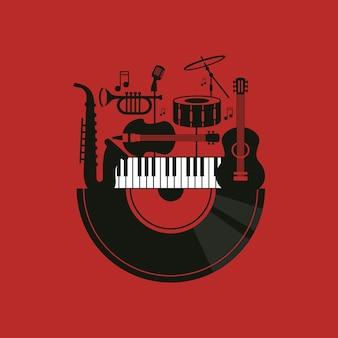 Illustration with musical instruments and vinyl record music concept and elements design for card