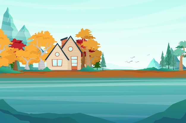 Illustration with nature landscape scenery of house in the forest tree.
