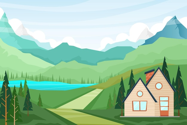 Illustration with nature landscape scenery of house and pine tree of summer countryside nature scene, mountains and lake