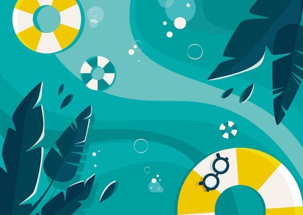 바다와 야자수 잎 그림. 평면 디자인의 여름 개념입니다.