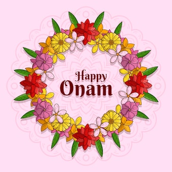 Illustration with onam floral decoration