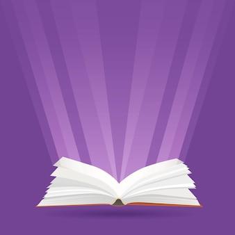 Иллюстрация с открытой книгой и лучами света. знания