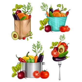 Illustration with a pan, bag, fork, bowl and vegetables