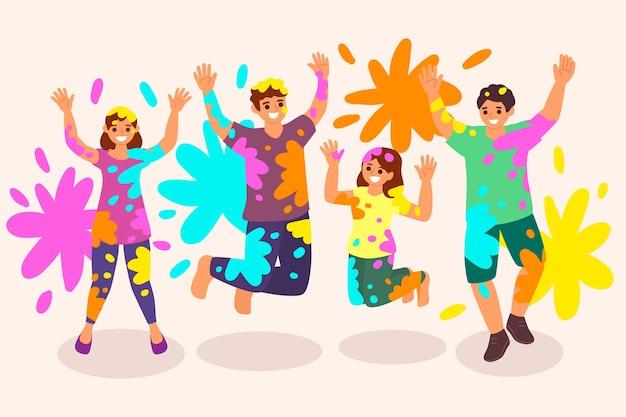 Иллюстрация с людьми, празднующими холи