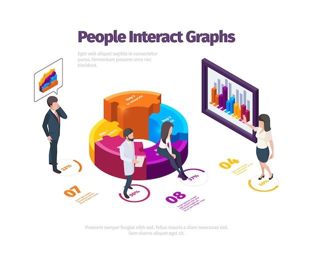Иллюстрация с людьми, взаимодействующими с графиками