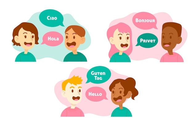 Illustration with people talking different languages