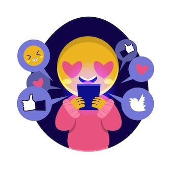 Иллюстрация с человеком, зависимым от социальных сетей
