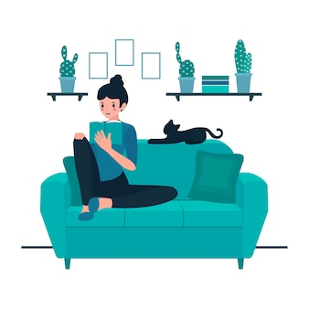 Illustration with person relaxing at home