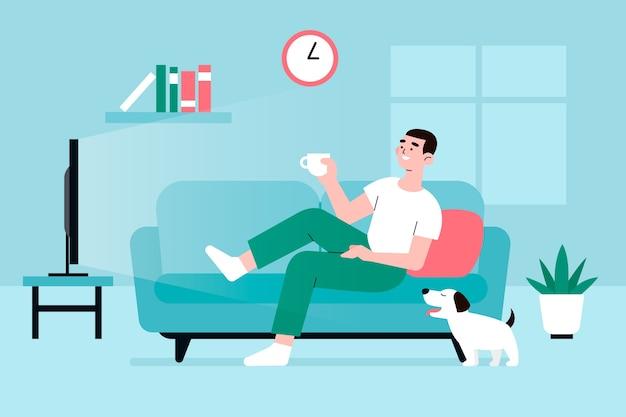 Illustrazione con la persona che si rilassa a casa