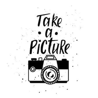 写真のカメラとイラスト。レタリング。写真を撮る