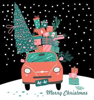ピックアップ車とクリスマスプレゼントとツリーのイラスト。