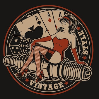 Illustration with pin-up girl on a spark plug with dice and playing cards in vintage style. all elements and text are in a separate group.