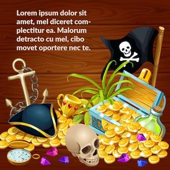 Иллюстрация с пиратским сокровищем, драгоценными камнями и черепом.