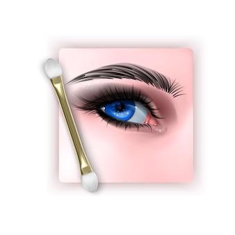 현실적인 파란 눈과 스모키 눈 화장과 그림