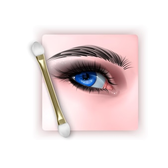 Illustration with realistic blue eye and smokey eyes makeup