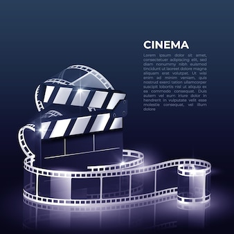Illustration with reel, film and clapperboard on white background.