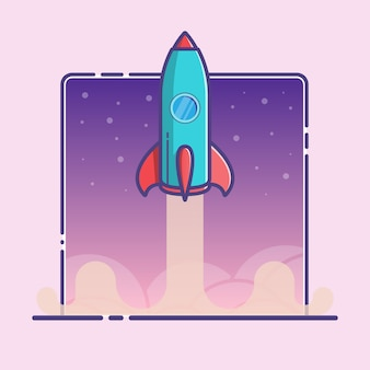 Illustration with rocket launch in  outline