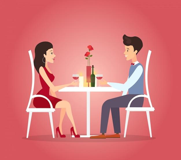 부부의 낭만적 인 저녁 식사와 그림입니다. 데이트 개념. 만화 스타일의 아름다운 여자와 잘 생긴 젊은 남자의 발렌타인 데이 축하. 프리미엄 벡터
