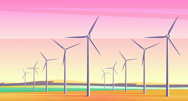 Illustration with rotation energy windmills for alternative energy resource in spacious field with pink sunset sky. film camera noise effect.