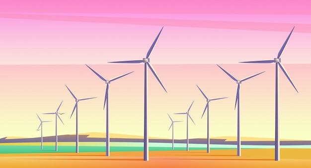 ピンクの夕焼け空と広々としたフィールドで代替エネルギーリソースの回転エネルギー風車のイラスト。フィルムカメラのノイズ効果。