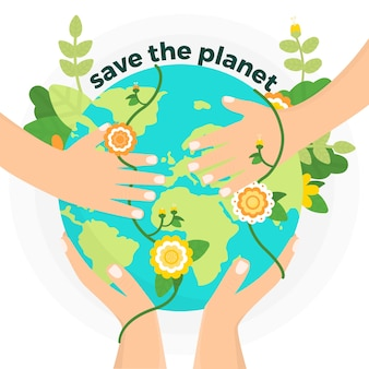 Illustration with save the planet design