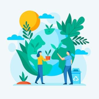 Illustrazione con salvare il messaggio del pianeta