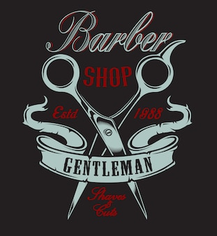 Illustration with scissors for a barber shop on a dark background. all elements and text are in a separate group.