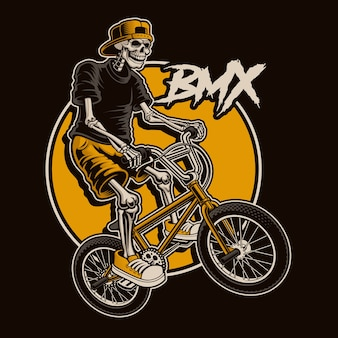 Illustration with a skeleton is jumping on bmx bike. layred
