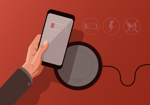 Illustration with smartphone and wireless charger on red background