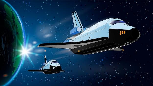 Иллюстрация с космическим кораблем, космическим кораблем в космосе с землей. программа истории космоса, исследование ближнего космоса человеком. картинка с 3d моделью летающего космического корабля. изолированный.