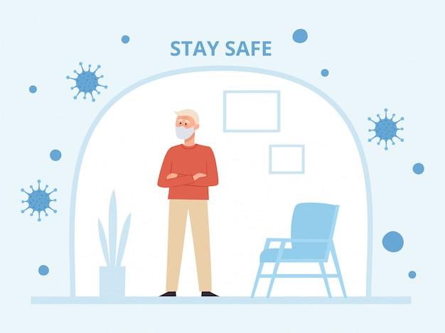 コロナウイルスから自己分離の医療フェイスマスクに立っている老人のイラスト。都市大気汚染、空中感染症、ウイルスからの予防マスクのシニアキャラクター。