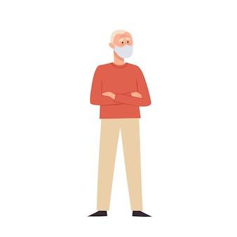 白で隔離される医療フェイスマスクに立っている老人のイラスト。都市の大気汚染、空中感染症、コロナウイルスからの予防マスクの異なるシニアキャラクター。