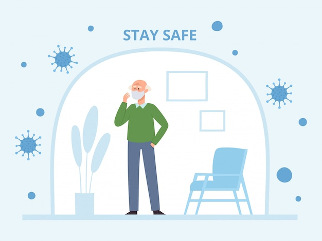 Illustration with standing old man in medical face mask in self isolation from coronavirus. senior character in prevention mask from urban air pollution, airborne diseases, virus.