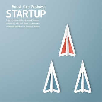 Illustration with start up concept in paper cut, craft and origami style. rocket is flying on blue sky.