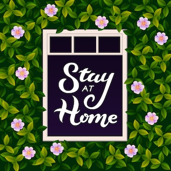Illustration with stay at home lettering text in open window. an inscription urging people to stay at home during the epidemic. covid-19