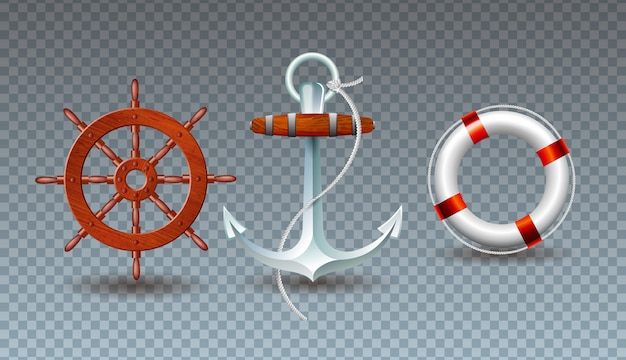 Illustration with steering wheel, anchor and lifebelt collection