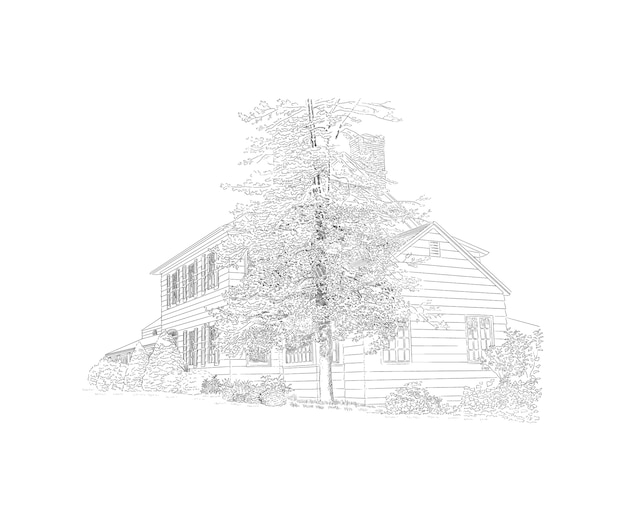 Иллюстрация с особняком стиля, большое дерево перед ним, усадьба. историческое здание